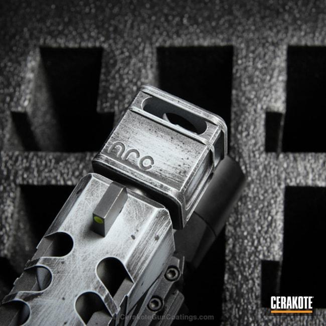 Cerakoted: Custom,Stippled,Armor Black H-190,BATTLESHIP GREY H-213,Pistol,Glock