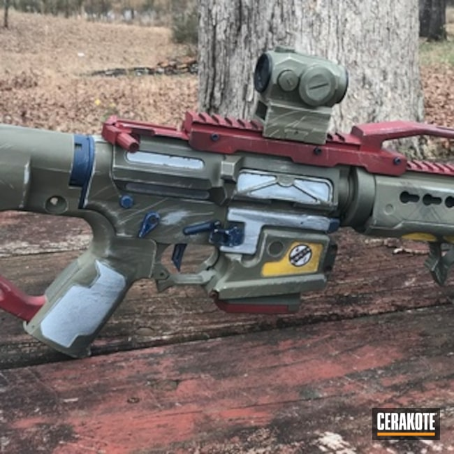 Cerakoted: Boba Fett Theme,Sniper Green H-229,Tactical Rifle,BATTLESHIP GREY H-213,Theme,DEWALT YELLOW H-126,Star Wars