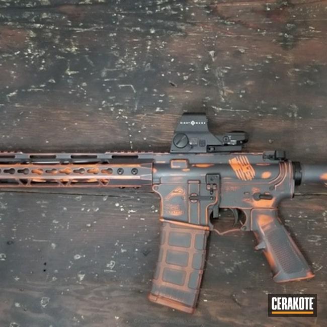 Cerakoted: Aero Precision,Sniper Grey H-234,Distressed,Tactical Rifle,Hunter Orange H-128