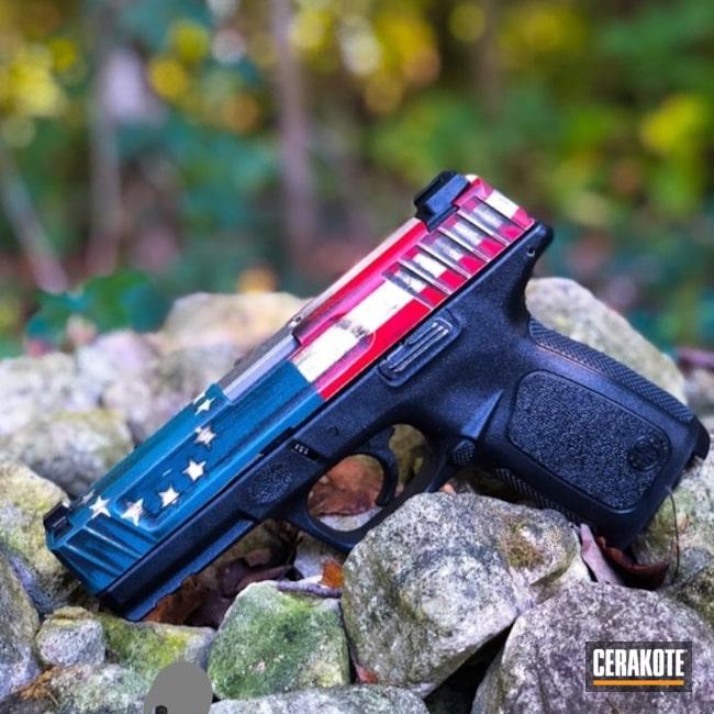 Cerakoted: NRA Blue H-171,FIREHOUSE RED H-216,Battleworn Flag,Pistol,American Flag