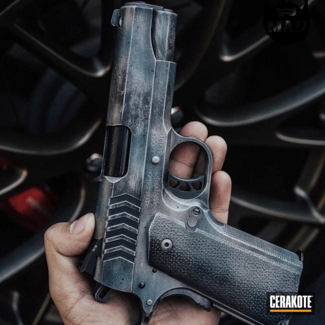 Cerakoted: War Torn,Steel Grey H-139,Ruger,Battleworn,MAD Max,Graphite Black H-146,Distressed,Pistol,1911,Handguns,Blue Titanium H-185