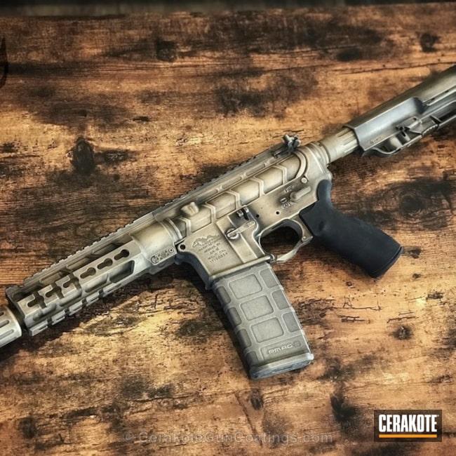 Cerakoted: War Torn,Battleworn,Anderson Mfg.,Graphite Black H-146,Distressed,Desert Sand H-199,Tactical Rifle,AR-15