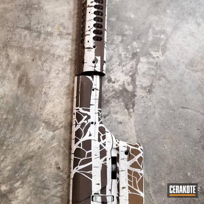 Cerakoted: Triple Trees,Rifle Stock,LWRC International,Upper / Lower / Handguard,Stormtrooper White H-297,Gun Parts,Flat Dark Earth H-265,Stock,Custom Camo,Chocolate Brown H-258