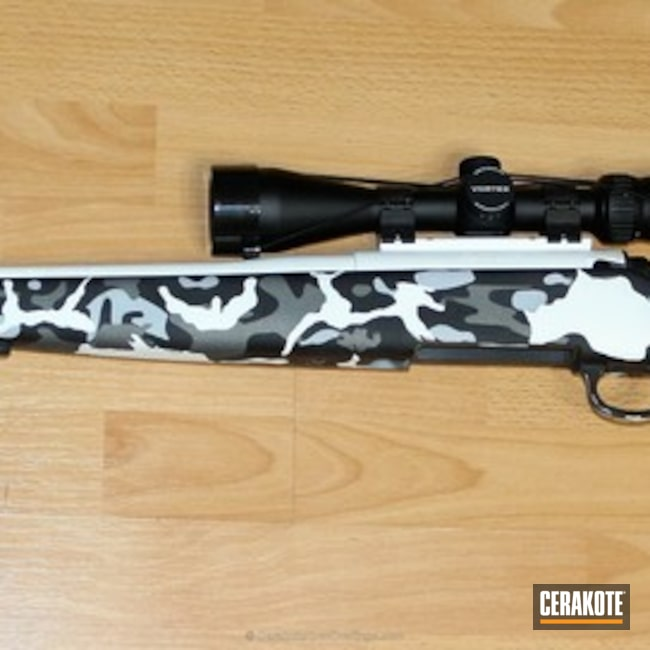 Cerakoted: Bolt Action Rifle,MultiCam,Snow White H-136,Graphite Black H-146,Tactical Grey H-227