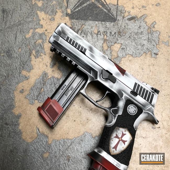 Cerakoted: Sig Sauer X5,Knights Templar,Distressed,P320,Crimson H-221,Stippled,Pistol,Armor Black H-190,Sig Sauer,Laser Engrave,San Antonio Laser Engraving,Gold H-122,Defkon3,Crusader,Bright White H-140,Sig Sauer P320,Battleworn,Satin Aluminum H-151,Competition Gun,Handguns,Paraclete