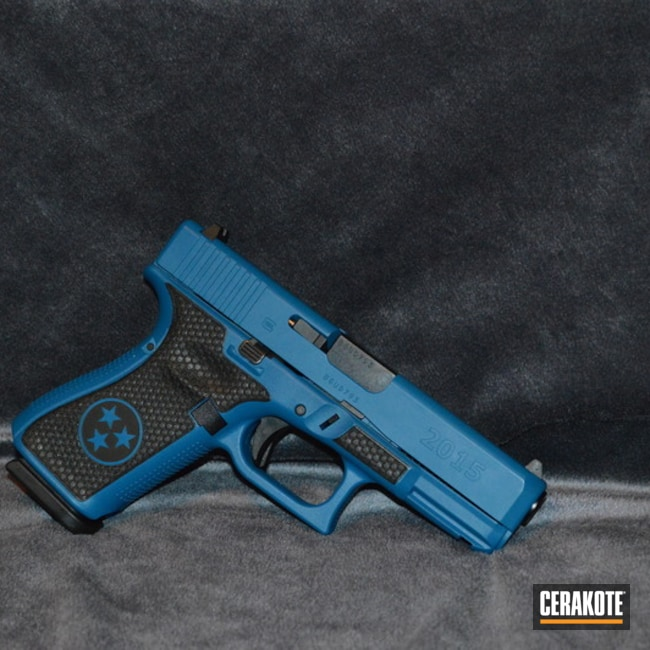 Cerakoted Laser Engraved Glock 19 Finished In H-169 Sky Blue