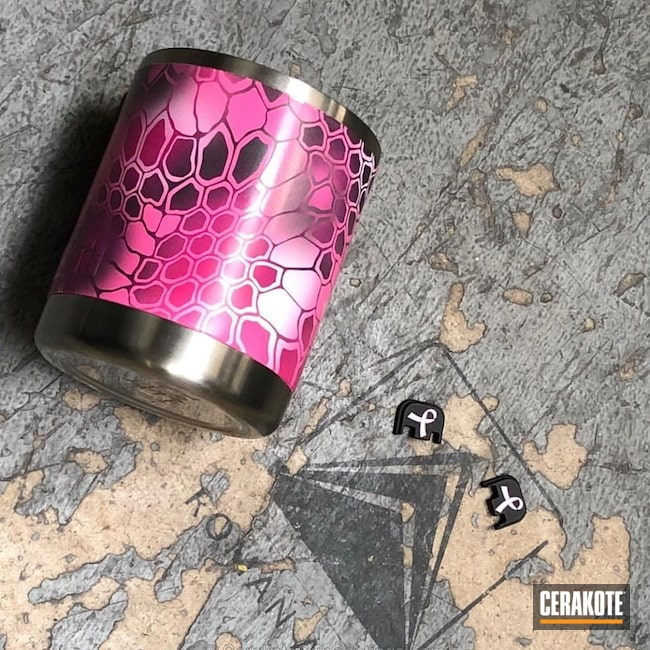 Breast Cancer Awareness Yeti Cup done in a Pink Ribbon Kryptek Finish