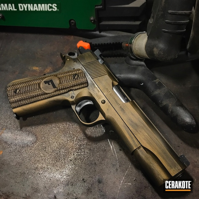 Cerakoted: Colt MK IV,Distressed,Colt,Burnt Bronze H-148,Armor Black H-190,Pistol,Colt Government Model,1911