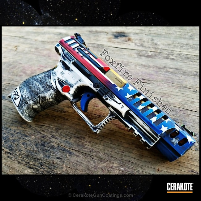 Cerakoted: Walther,NRA Blue H-171,Graphite Black H-146,Walther PPQ,Distressed,Stormtrooper White H-297,USMC Red H-167,Pistol,American Flag