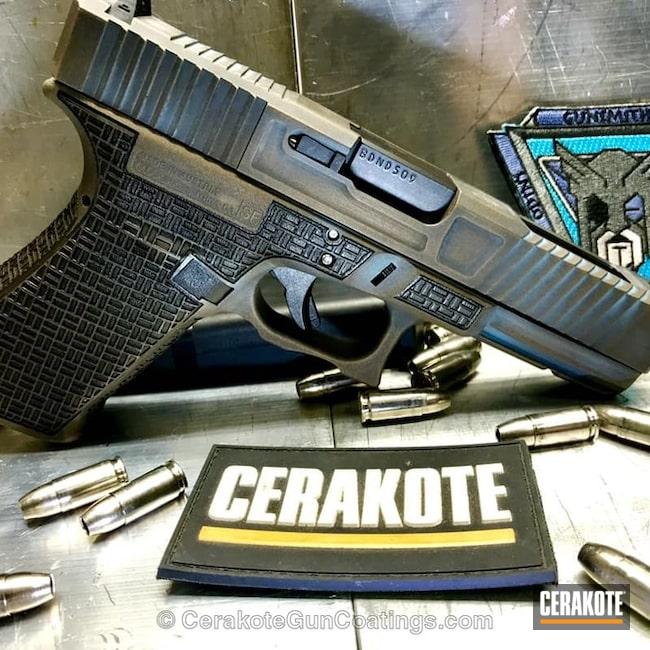 Cerakoted: Laser Stippled,Glock 21,Robin's Egg Blue H-175,Stippled,Burnt Bronze H-148,Armor Black H-190,Glock,Laser Engrave,Spartan Worn,EDC