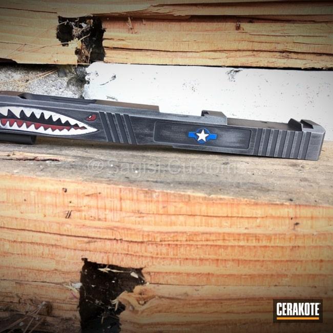 Cerakoted: NRA Blue H-171,Snow White H-136,Graphite Black H-146,Distressed,Tungsten H-237,Glock,Slide,Shark Mouth