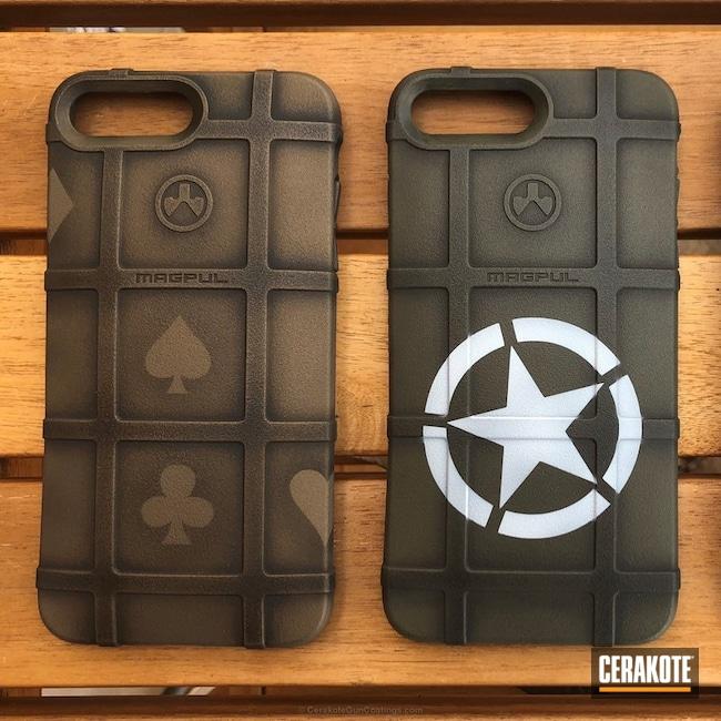 Cerakoted: Phone Case,Battleworn,MagPul,Graphite Black H-146,Stormtrooper White H-297,Burnt Bronze H-148,More Than Guns,O.D. Green H-236