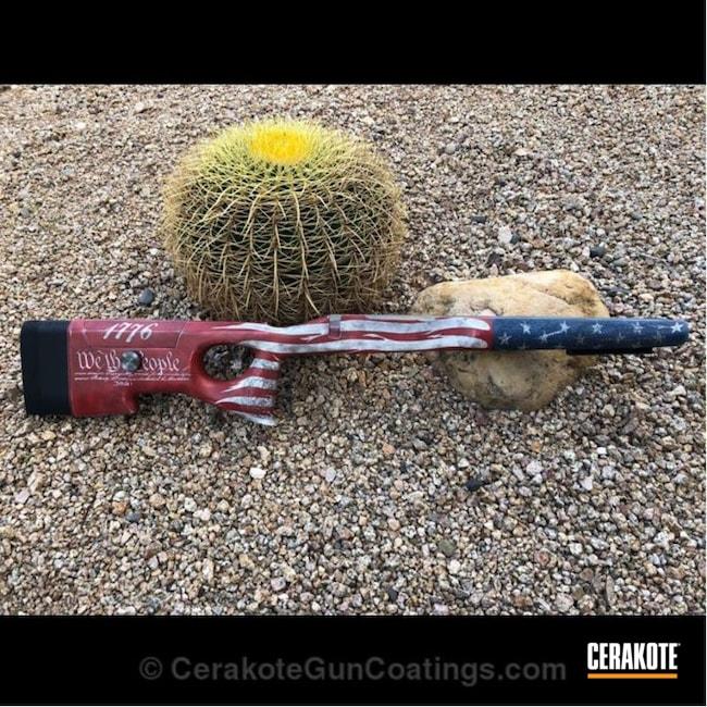 Cerakoted: Bolt Action Rifle,McMillan,Mcmillan A6,Graphite Black H-146,Stormtrooper White H-297,Crimson H-221,American Flag,KEL-TEC® NAVY BLUE H-127,mcmillan stocks,Defiance Actions