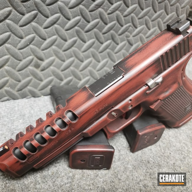 Cerakoted: Custom Mix,Graphite Black H-146,Distressed,USMC Red H-167,Pistol,Glock,Machined Slide,Glock 41