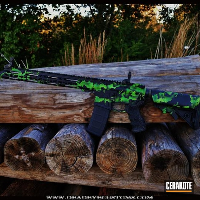 Cerakoted: Custom Mix,Corvette Yellow H-144,Anderson Mfg.,Toxic,Graphite Black H-146,Zombie Green H-168,Tactical Rifle,Sky Blue H-169,AR-15