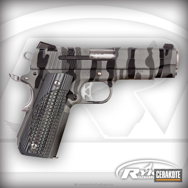 Sig Sauer 1911 Handgun in a Stripe Camo Finish