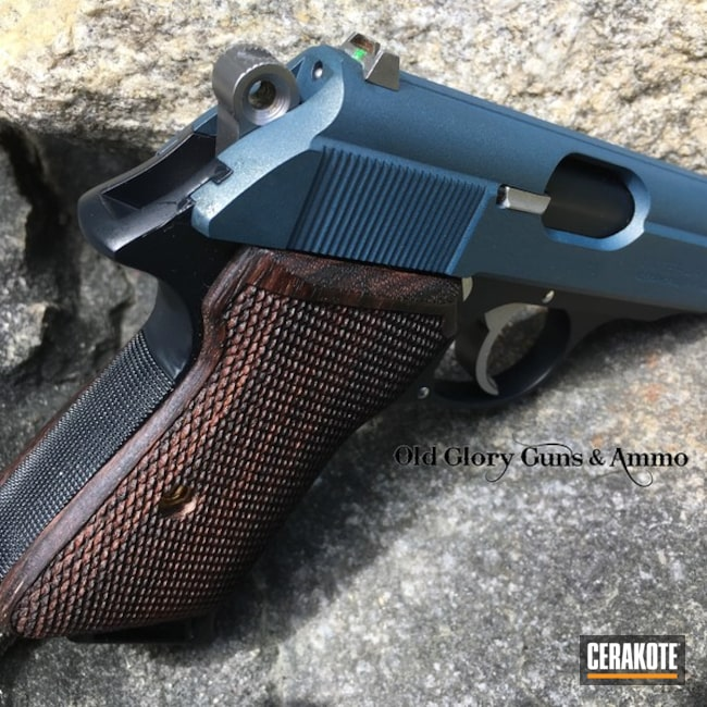 Cerakoted: Walther PPK/S,Walther,Socom Blue H-245,Interarms,Pistol,Custom Checkering,007,Blue Titanium H-185