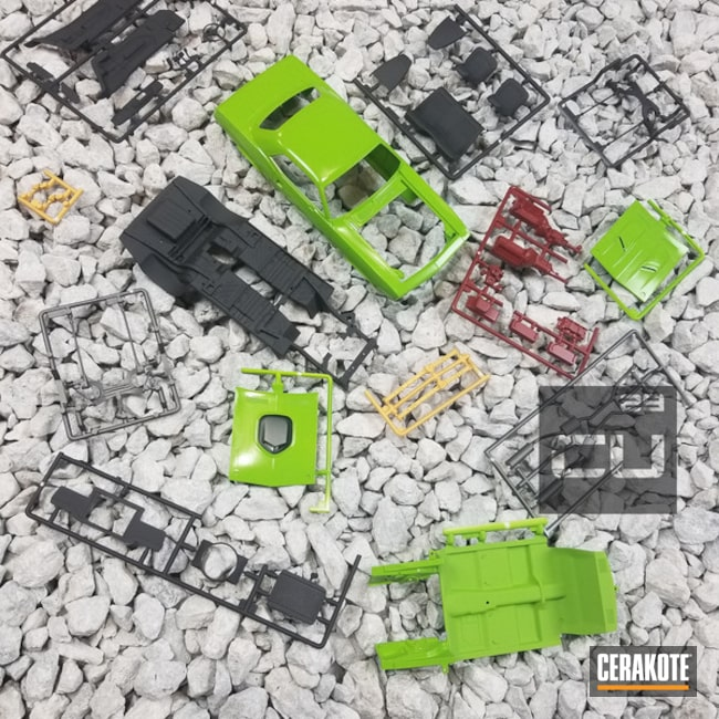 Cerakoted: Zombie Green H-168,Crimson H-221,Armor Black H-190,More Than Guns,Model Car,Gold H-122