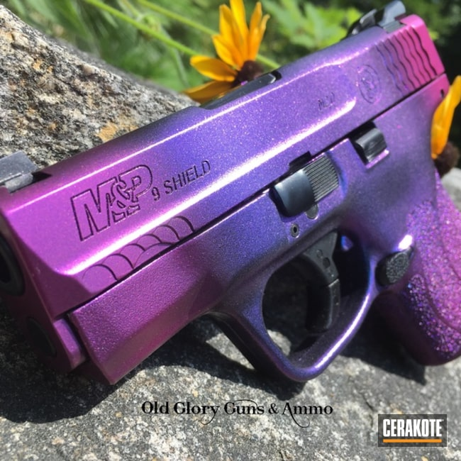 Cerakoted: M&P Shield 9mm,Graphite Black H-146,Smith & Wesson,Purple Candy,Pistol,GunCandy,M&P Shield,Color Shift