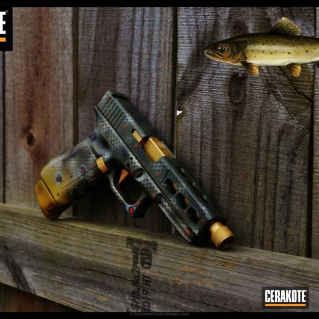 Glock Handgun in a Custom Brook Trout Themed Finish