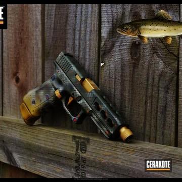 Cerakoted Glock Handgun In A Custom Brook Trout Themed Finish