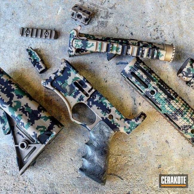 Cerakoted: Digital Camo,Graphite Black H-146,MARPAT,USMC,Jesse James Eastern Front Green H-400,AR-15