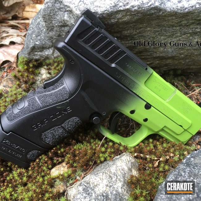 Cerakoted: Color Fade,Zombie,Zombie Green H-168,Springfield XD,Armor Black H-190,Pistol,Springfield Armory