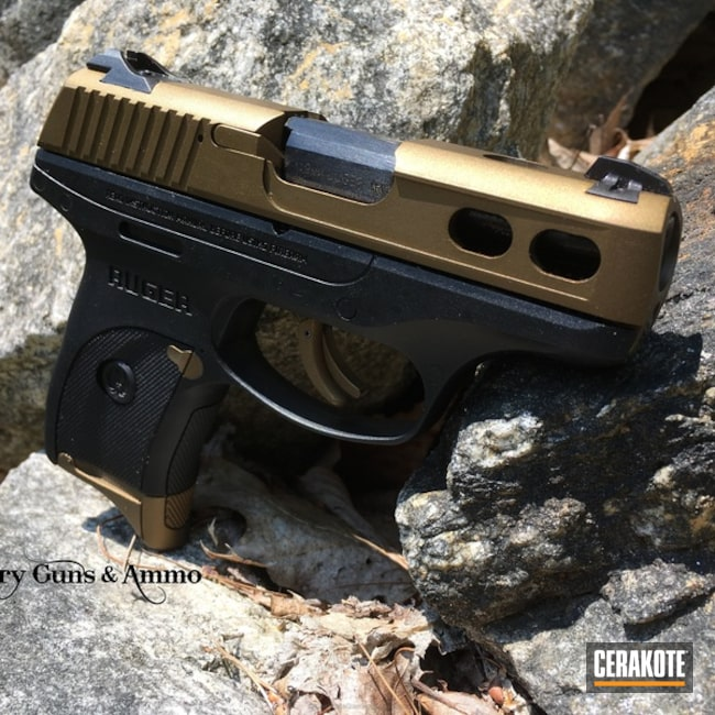 Cerakoted: Ruger LC9S,Conceal Carry,Ruger,Two Tone,Burnt Bronze H-148,Machined Slide,Carry Gun