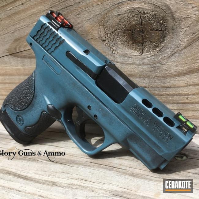 Cerakoted: Conceal Carry,M&P Shield 9mm,Graphite Black H-146,Distressed,Smith & Wesson,Performance Center,Carry Gun,Blue Titanium H-185