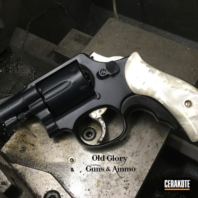 Cerakoted: Socom Blue H-245,Smith & Wesson,Revolver,Refinished,Carry Gun,Pearl