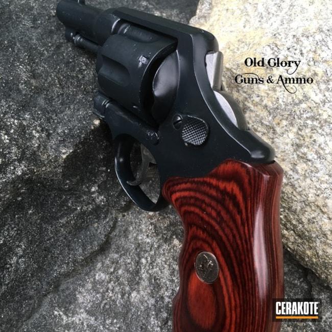 Cerakoted: Barrel Chopped,Bobbed Hammer,Socom Blue H-245,Smith & Wesson,Revolver,Refinished,S&W 1917,Carry Gun,Model 1917