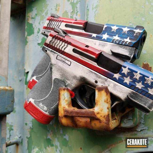 "Thumbnail image for project ""Matching Smith & Wesson M&P Pistols in a American Flag Finish"""