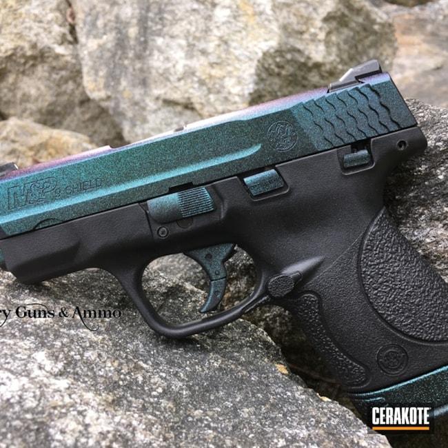 Cerakoted: Conceal Carry,M&P Shield 9mm,Graphite Black H-146,Smith & Wesson,Pistol,Carry Gun,GunCandy,Color Shift
