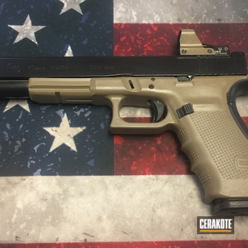 Cerakoted Two Toned Glock 40 Handgun In Black And Fde