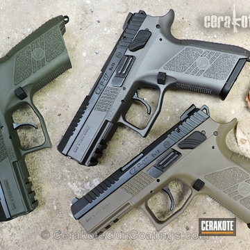 Cerakoted 3 P07 Handguns In Different Cerakote Colors