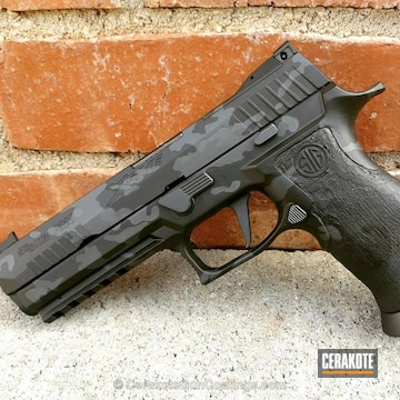 Cerakoted Sig Sauer X5 Handgun In A Two Toned Multicam Finish