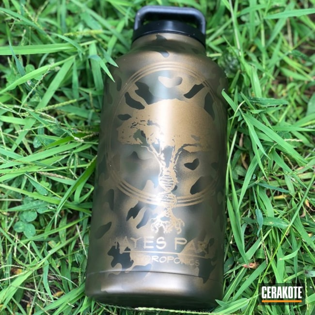 Matching Water Bottle and Tumbler Cup in a Custom Cerakote MultiCam Finish