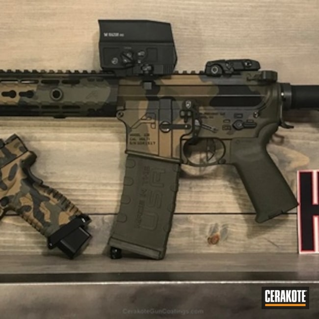 Matching Handgun and Tactical Rifle in a Woodland Camo Finish