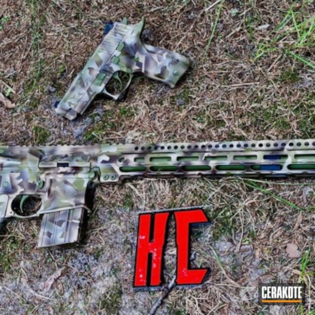 "Thumbnail image for project ""AR-15 and Matching Sig Sauer P226 Handgun in a Splinter Camo Finish"""