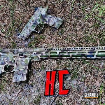 Cerakoted Ar-15 And Matching Sig Sauer P226 Handgun In A Splinter Camo Finish