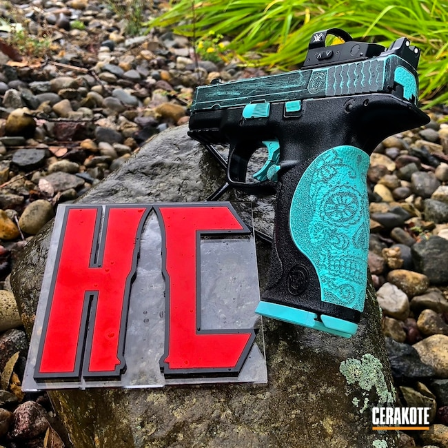 Cerakoted: 9mm,Sugar Skull,Robin's Egg Blue H-175,Battleworn,Gloss Black H-109,Two Tone,Smith & Wesson M&P PC,Stippled,Vortex Red Dot