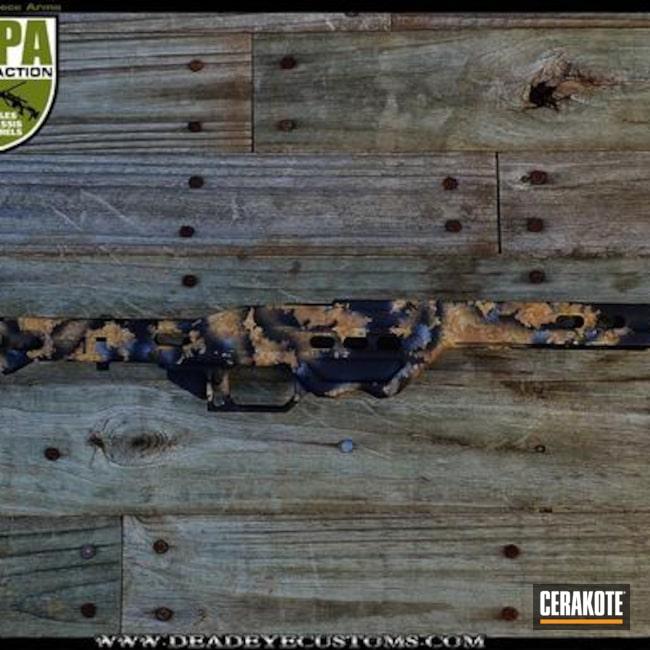 Cerakoted: Organic Camo,Frame,Graphite Black H-146,Armor Black H-190,Organic Pattern,Light Sand H-142,Rifle Chassis