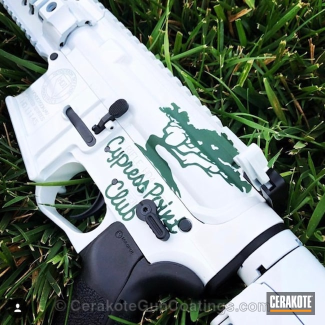 Cerakoted: Rifle,Custom,Golf,Stormtrooper White H-297,Tactical Rifle,.223,Jesse James Eastern Front Green H-400,5.56,AR-15