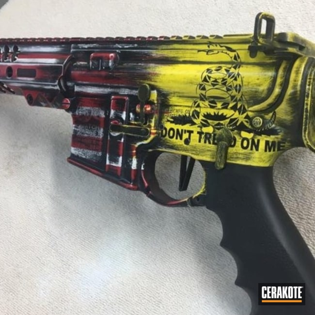 Cerakoted: NRA Blue H-171,FIREHOUSE RED H-216,Snow White H-136,Dont Tread On Me,Graphite Black H-146,Tactical Rifle,American Flag,DEWALT YELLOW H-126