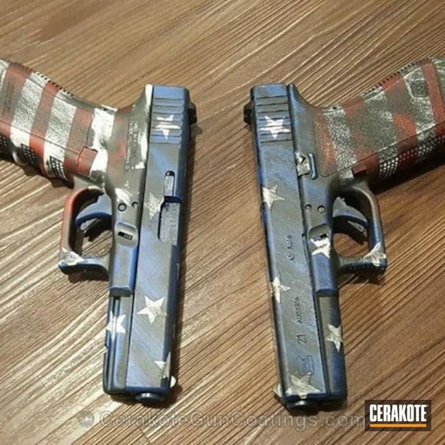 Cerakoted: NRA Blue H-171,FIREHOUSE RED H-216,Snow White H-136,American Flag,Glock,Matching Set,Pistols