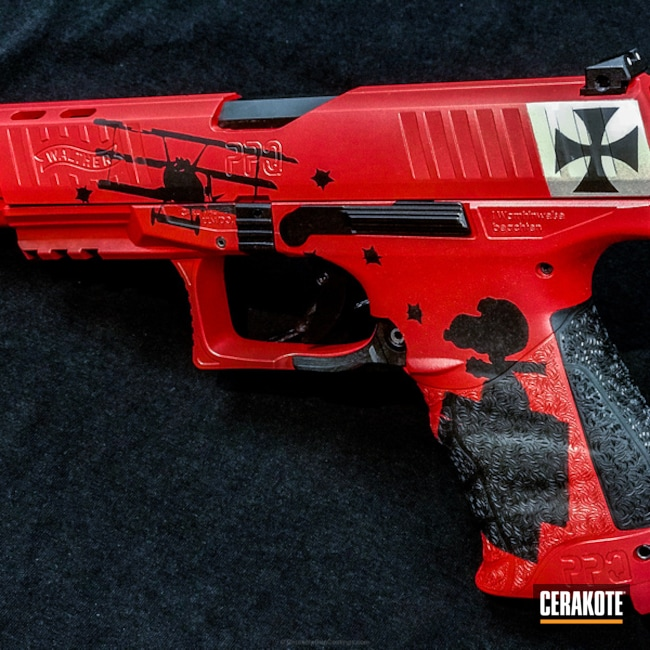 Cerakoted: Walther,Snoopy,Graphite Black H-146,USMC Red H-167,Pistol,Theme,Red Baron