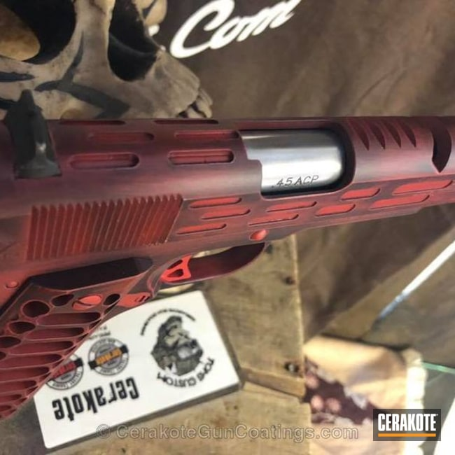 Cerakoted: FIREHOUSE RED H-216,Graphite Black H-146,American Tactical,Pistol,1911,laser ported,Laser Engrave,Lasercut