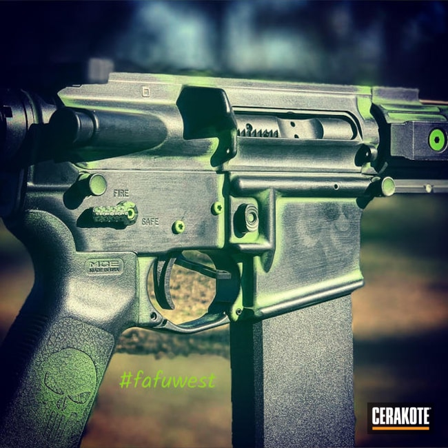 Cerakoted: Battleworn,DPMS Panther Arms,Graphite Black H-146,Zombie Green H-168,Tactical Rifle,AR-15