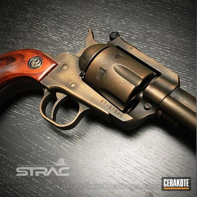 Cerakoted: Ruger,Ruger Blackhaw,Revolver,Gen II Graphite Black HIR-146,Burnt Bronze H-148,Old School
