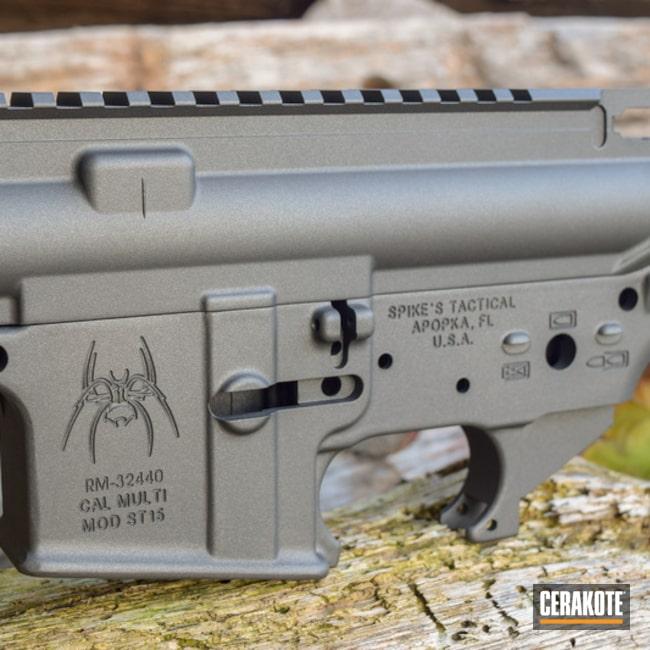Cerakoted: Custom Mix,Spike's Tactical,Graphite Black H-146,Spikes Receiver,Upper / Lower / Handguard,Disruptive Grey,Tungsten H-237